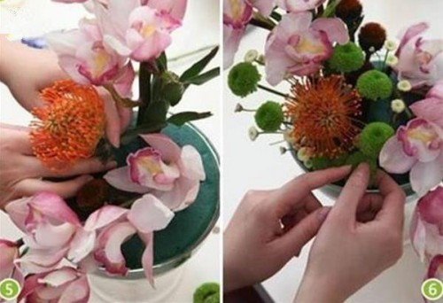 浪漫情怀 兰花与风轮花的插花制作步骤