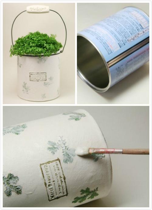 旧物改造 废弃奶粉罐巧变铁皮小盆栽