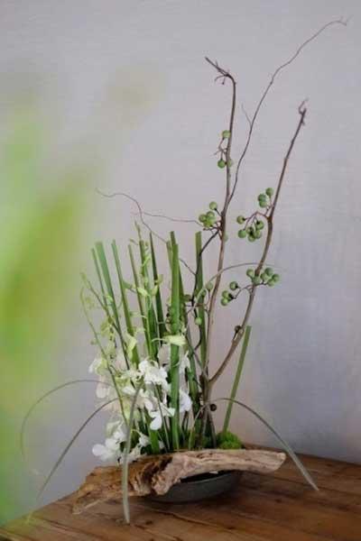 茶席插花中花材的选择和造型